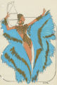 Costume design drawing, showgirl in pleated turquoise cape, Las Vegas, June 5, 1980