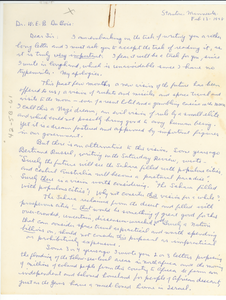 Letter from Marion Robbins Thompson to W. E. B. Du Bois