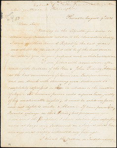 Thumbnail for Letter from James Forten, Philad[elphi]a, [Pennsylvania], to William Lloyd Garrison, 1831 August 9th