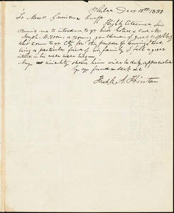 Letter from Frederick A. Hinton, Phila[delphi]a, [Pennsylvania], to William Lloyd Garrison and Isaac Knapp, 1833 Dec[embe]r 10th