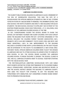 Historic Marker Application: Lampasas Colored School Hill Country Heritage Region