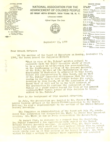 Circular letter from Roy Wilkins to NAACP