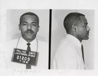 Mississippi State Sovereignty Commission photograph of Richard Lee Haley following his arrest for picketing the Heidelberg Hotel during the Southern Governor's Conference, Jackson, Mississippi, 1961 July 19