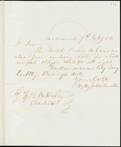 Wylly & Montmollin, Savannah, Ga., manuscript letter signed to Ziba B. Oakes, 7 July 1854
