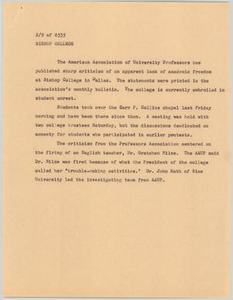 News Script: Bishop College