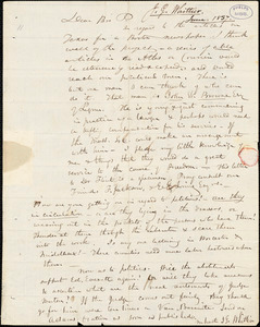 Letter from John Greenleaf Whittier to Amos Augustus Phelps, 1837 June