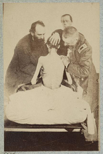 [Emaciated prisoner of war from Belle Isle, Richmond, Private Isaiah G. Bowker of Co. B, 9th Maine Volunteers, at the U.S. General Hospital, Div. 1, Annapolis]