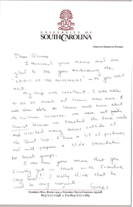 Letter from Cleveland Sellers to Gloria Xifaras Clark