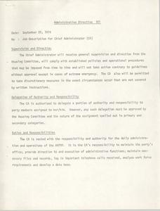 Administrative Directive 101 Memorandum, September 20, 1974