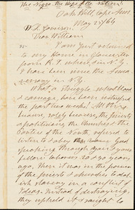 Letter from Henry Clarke Wright, Oak Hill, [Gloucester,] Cape Ann, [Massachusetts], to William Lloyd Garrison, [18]64 May 25