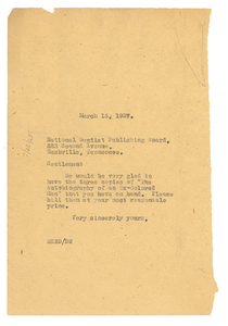 Letter from W. E. B. Du Bois to National Baptist Publishing Board
