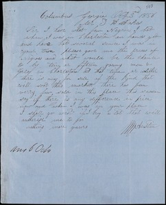 W. W. Austin, Columbus, Ga., autograph note signed to Ziba B. Oakes, 2 October 1856