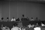 Maxine Waters leading a speaker's panel during a Black Women's Forum event, Los Angeles, 1991