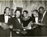 Humbert Howard with Morris Blackburn, Lois Mailou Jones, and Jacob Lawrence at a Pyramid Club Art Exhibition
