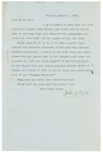 Letter from John J. Byrd to W. E. B. Du Bois