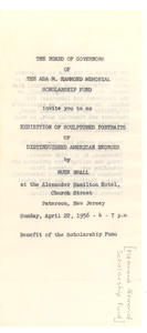 Invitation to an exhibition of sculptured portraits of distinguished American Negroes