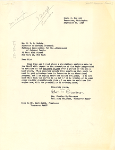 Letter from NAACP Vancouver Branch to W. E. B. Du Bois