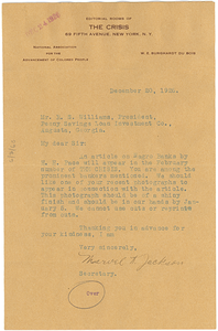 Letter from H. C. Dugas to Crisis