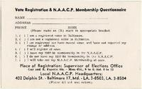 Voter Registration and N.A.A.C.P. Membership Questionnaire