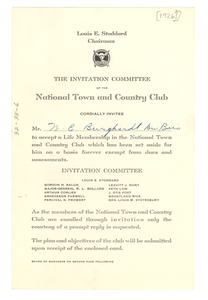 Invitation to the National Town and Country Club