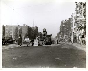 Track removal work on Huntington Avenue, Boston, Mass., Oct. 13, 1939