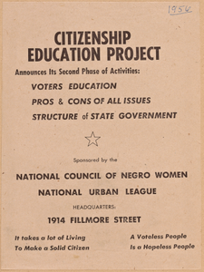 Thumbnail for Flyer promoting the second phase of the NCNW's Citizenship Education Project