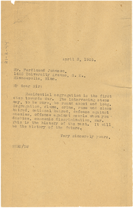 Letter from W. E. B. Du Bois to Ferdinand Johnson