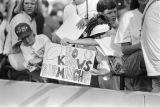 Bo Jackson fans at a Birmingham Barons baseball game in Birmingham, Alabama.