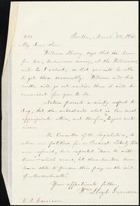 Letter from William Lloyd Garrison, Boston, [Mass.], to Wendell Phillips Garrison, March 22, 1860