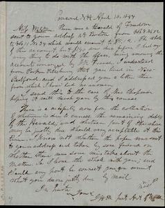 Letter to Caroline Weston, Concord, N.H, April 10, 1847