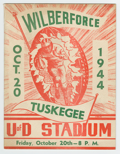 Program for a college football game between Wilberforce and Tuskegee, 1944
