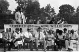 Man speaking during the dedication of Willie Mays Park in Fairfield, Alabama.
