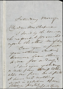 Letter from Charles F. Hovey to Maria Weston Chapman