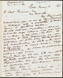 Letter from John Murray Forbes, Boston, [Mass.], to William Lloyd Garrison, Jan'y 18, [18]65