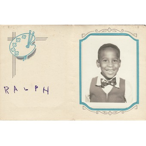 A school portrait of a young boy signed Ralph