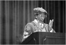 African American academic, Johnnetta B. Cole, speaking at a Georgia State University commencement ceremony, Atlanta, Georgia, June 21, 1997.