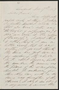 F. B. Sanborn autograph letter to [Thomas Wentworth Higginson], Concord, 17 November 1859