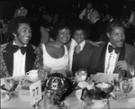 Clifton Davis, Gail Fisher, and Michael Jackson posing together, Los Angeles, ca. 1973