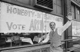 Richard Arrington standing outside the headquarters for his mayoral campaign at 2130 1st Avenue North in Birmingham, Alabama.