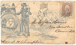 [Civil War envelope showing Union soldier with bayoneted musket and bedroll at military camp and state seal of Connecticut]