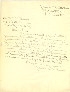 Letter from James W. Anderson to W. E. B. Du Bois