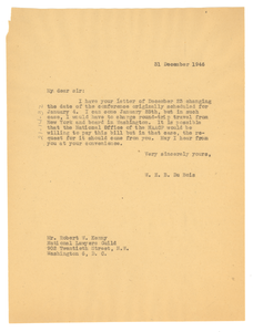 Letter from W. E. B. Du Bois to National Lawyers Guild