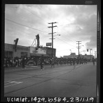 Centennial High School Apaches Girls Drill Team in the Watts Christmas parade, Los Angeles, Calif., 1965