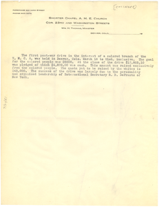 Statement of the colored branch of the Denver YMCA