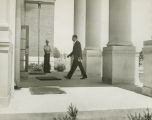 Dave Mack McGlathery entering Morton Hall at the University of Alabama in Huntsville, on the day he enrolled as the first African American student at the school.