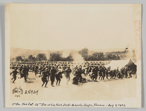 3d Bn. 366 Inf. - 92nd Div. at Gas Mask drill - Ainvelle, Vosges, France - Aug 8, 1918