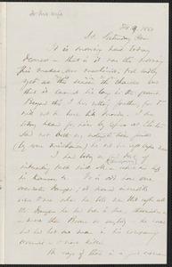 Thomas Wentworth Higginson autograph letter to [Mrs. Mary Elizabeth Channing Higginson, Harrisburg, PA], 18 February 1860