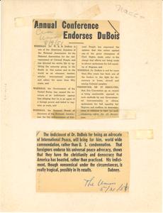 Annual conference endorses Du Bois
