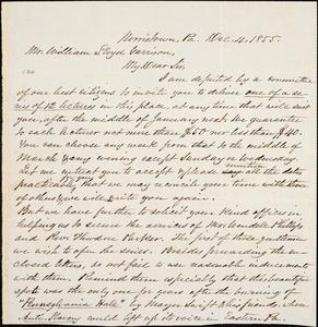 Letter, Norristown, P[ennsylvani]a, to William Lloyd Garrison, 1855 Dec[ember] 4