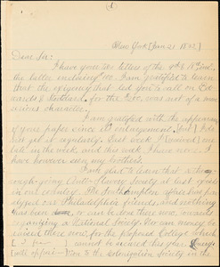 Letter from Arthur Tappan, New York, [New York], to William Lloyd Garrison, [1832 January 21]